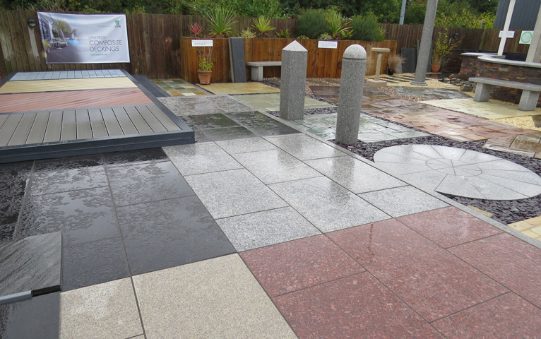 Natural stone paving displays at Everything Stone
