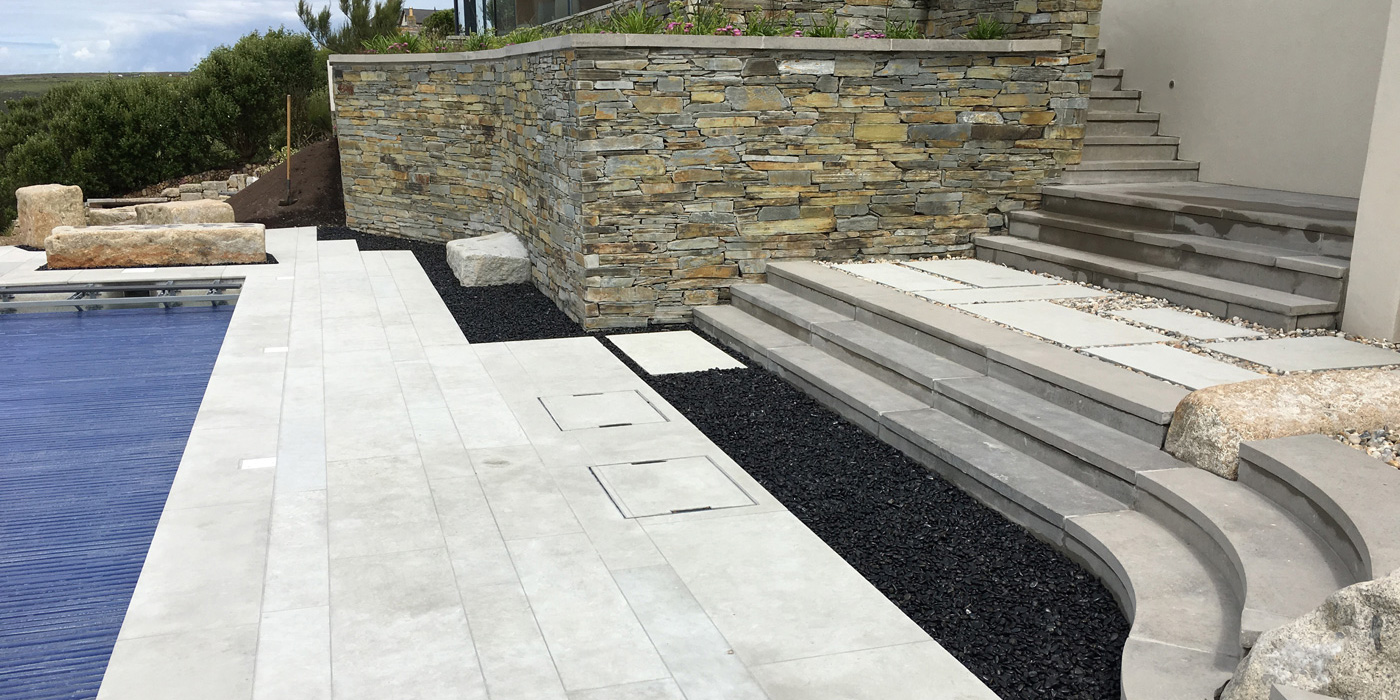 Everything Stone carrying our hard landscaping works at Sennen in Cornwall