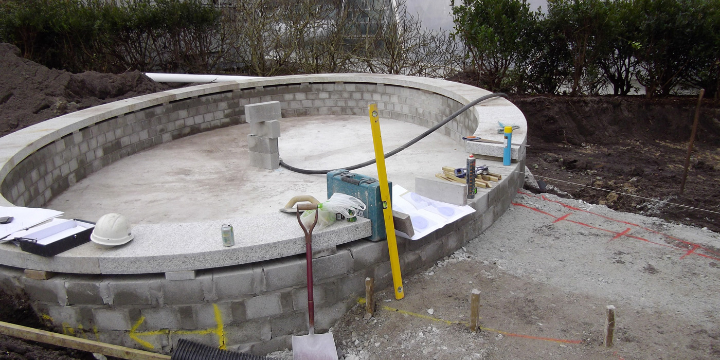 Everything Stone installing granite copings at the Eden Project in Cornwall