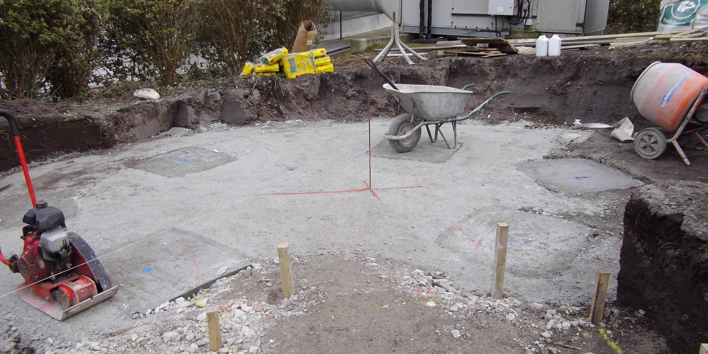 Everything Stone installing concrete pad foundations at the Eden Project in Cornwall