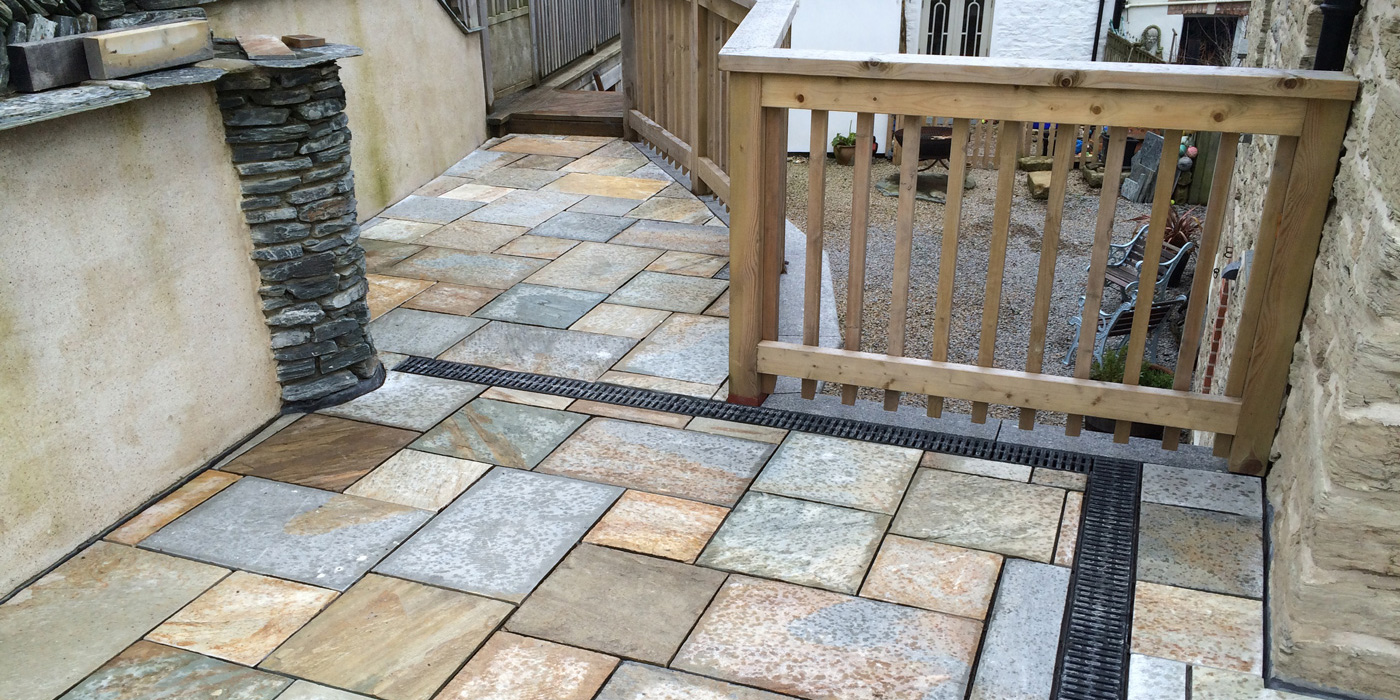 slate patio installed by Everything Stone in Newquay