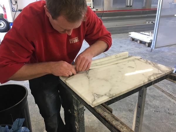 rebating marble shelf by everything stone