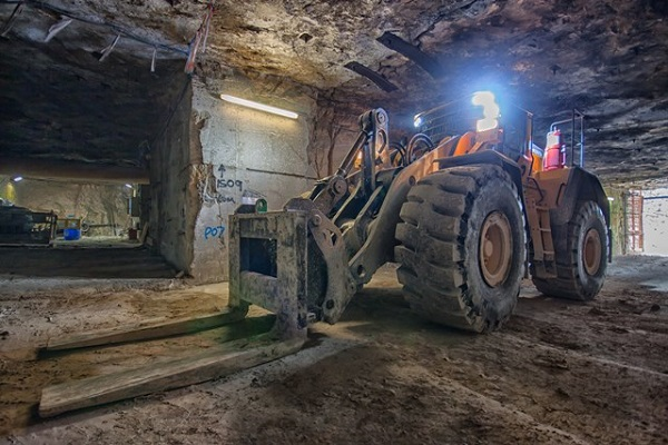 large fork lift in an underground bath stone quarry