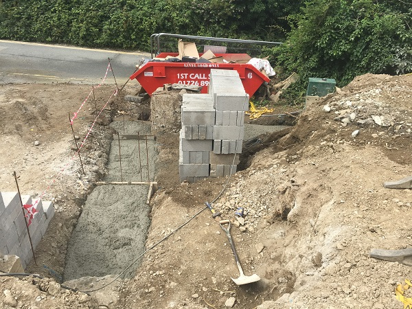 concrete footings on hard landscaping job in newquay