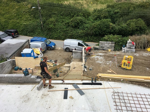 constructing timber shuttering for a staircase