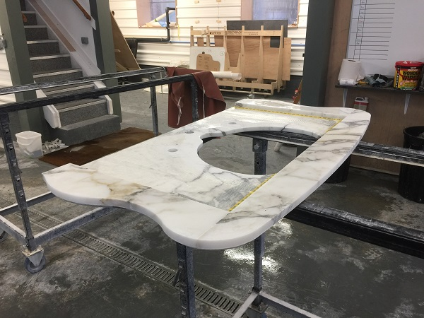 marble vanity tops being manufactured at Everything Stone in Cornwall