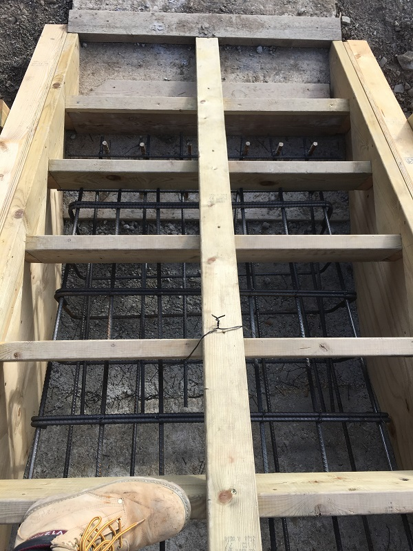 steel reinforcing for a reinforced concrete staircase