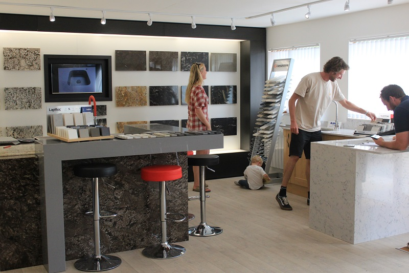customers in Everything Stone showroom