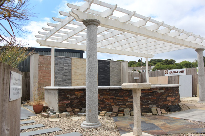 Pergola at Everything Stone display in Par near St Austell in Cornwall