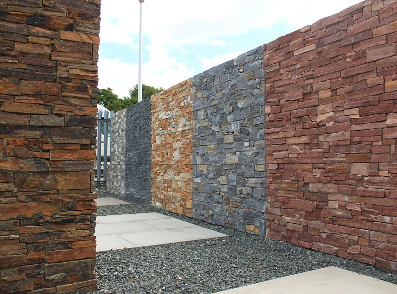 stone wall cladding displays at Everything Stone in Cornwall