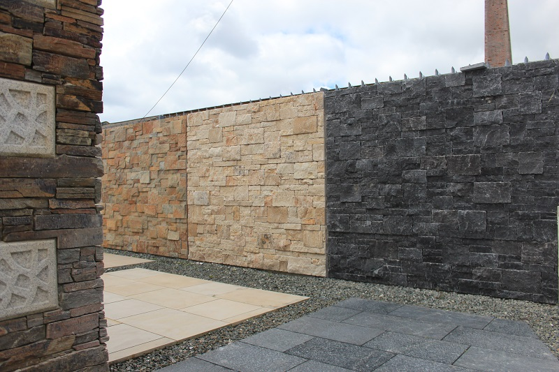 natural stone wall cladding displays in Par near St Austell in Cornwall