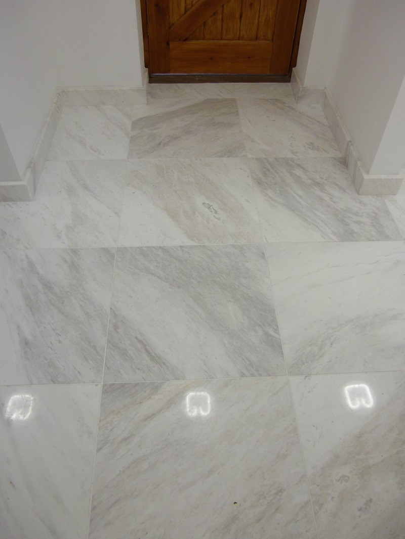 white marble tiles supplied & installed by Everything Stone