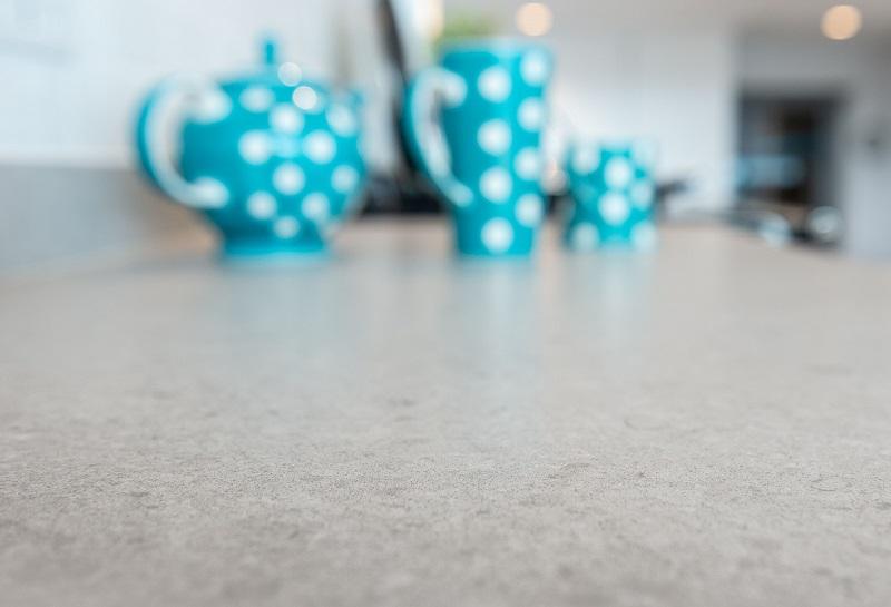 Unistone Cendre quartz worktops by Everything Stone